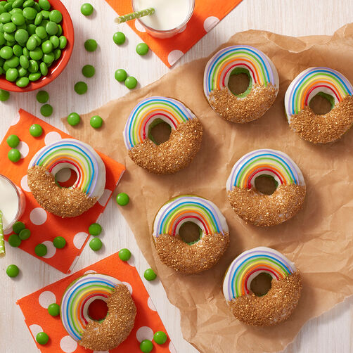 St. Patrick's Day Rainbow & Gold Donuts