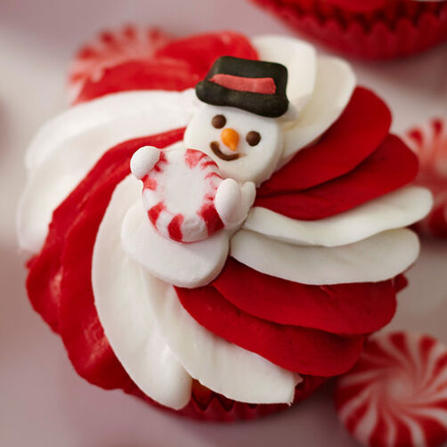 Red & White Snowman Cupcakes