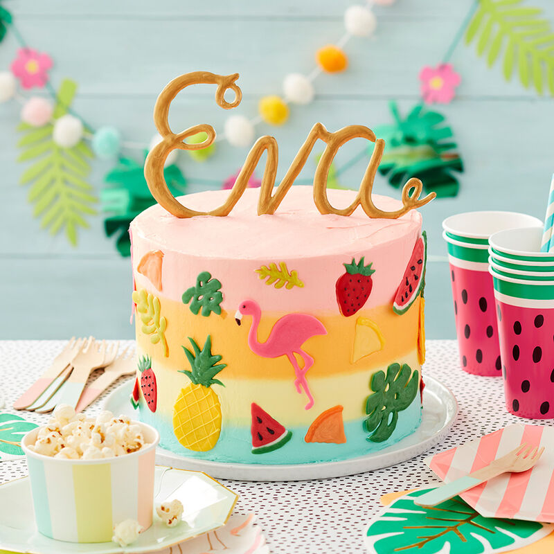 Enjoyable Tropical Time Birthday Cake Wilton Personalised Birthday Cards Beptaeletsinfo