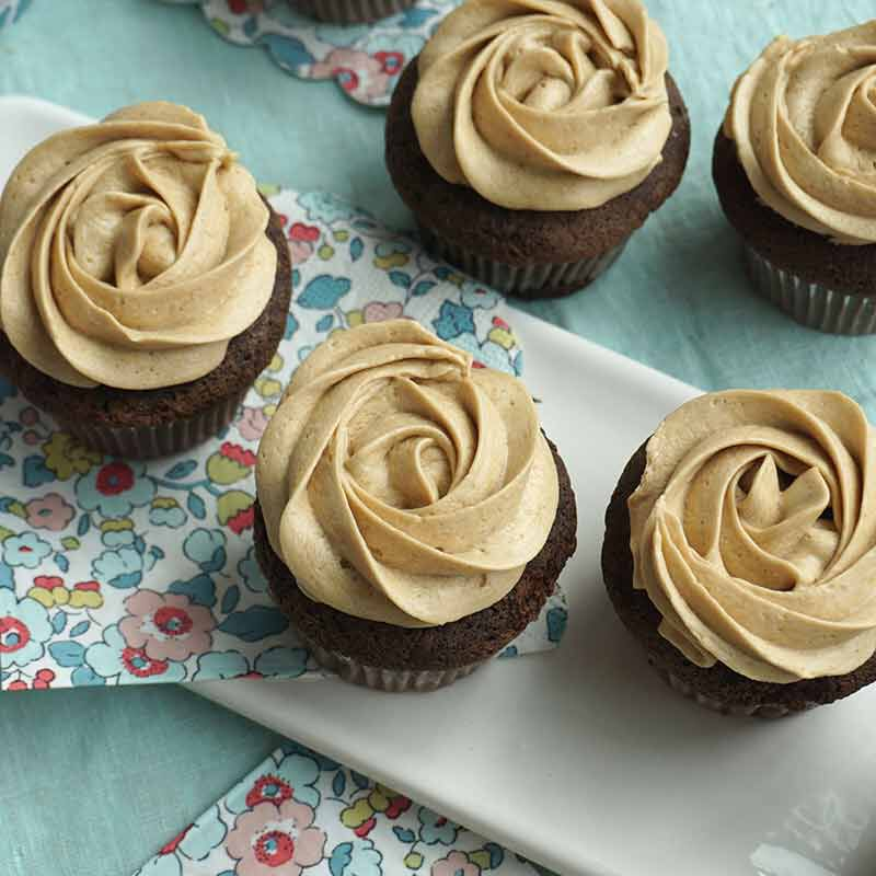 chocolate cupcakes decorated with brown sugar buttercream frosting image number 1