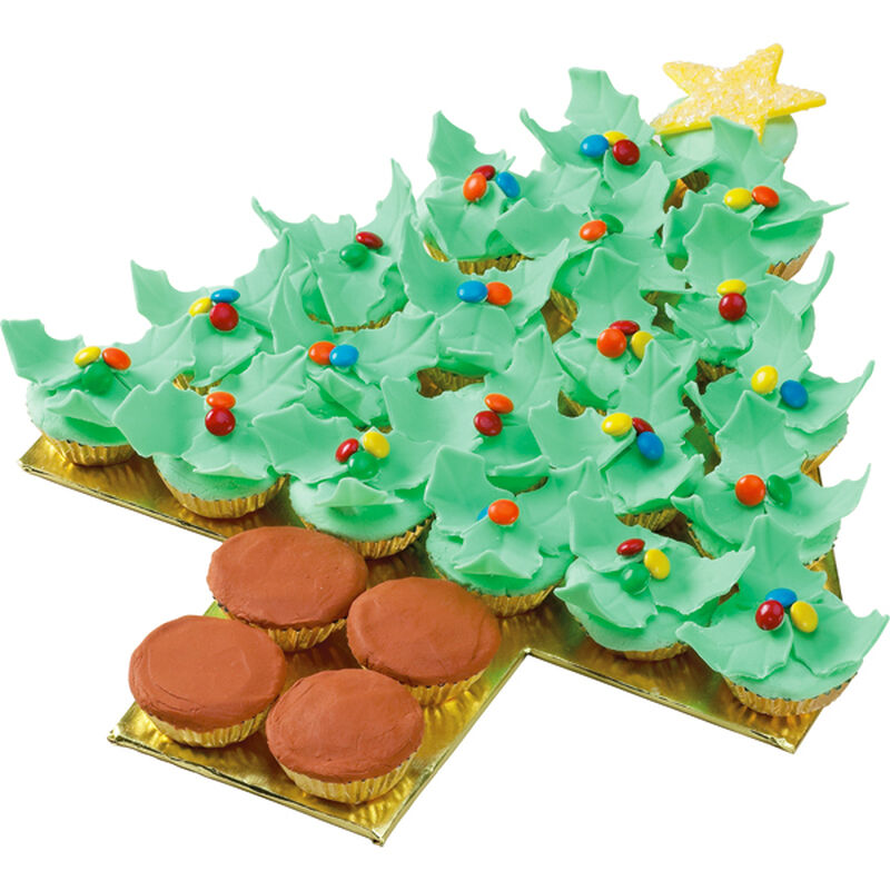 Holiday Holly Tree Cupcakes image number 0