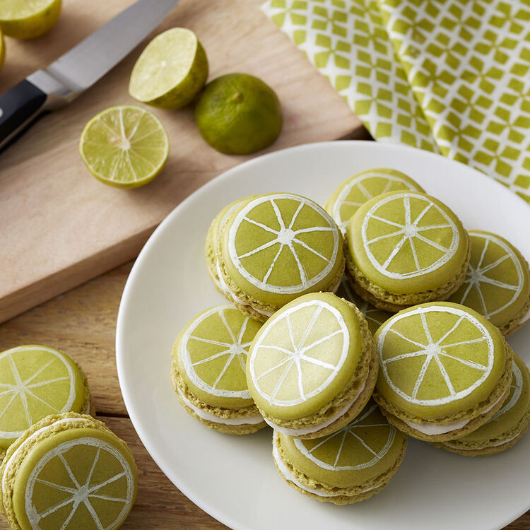 finished key lime macrons