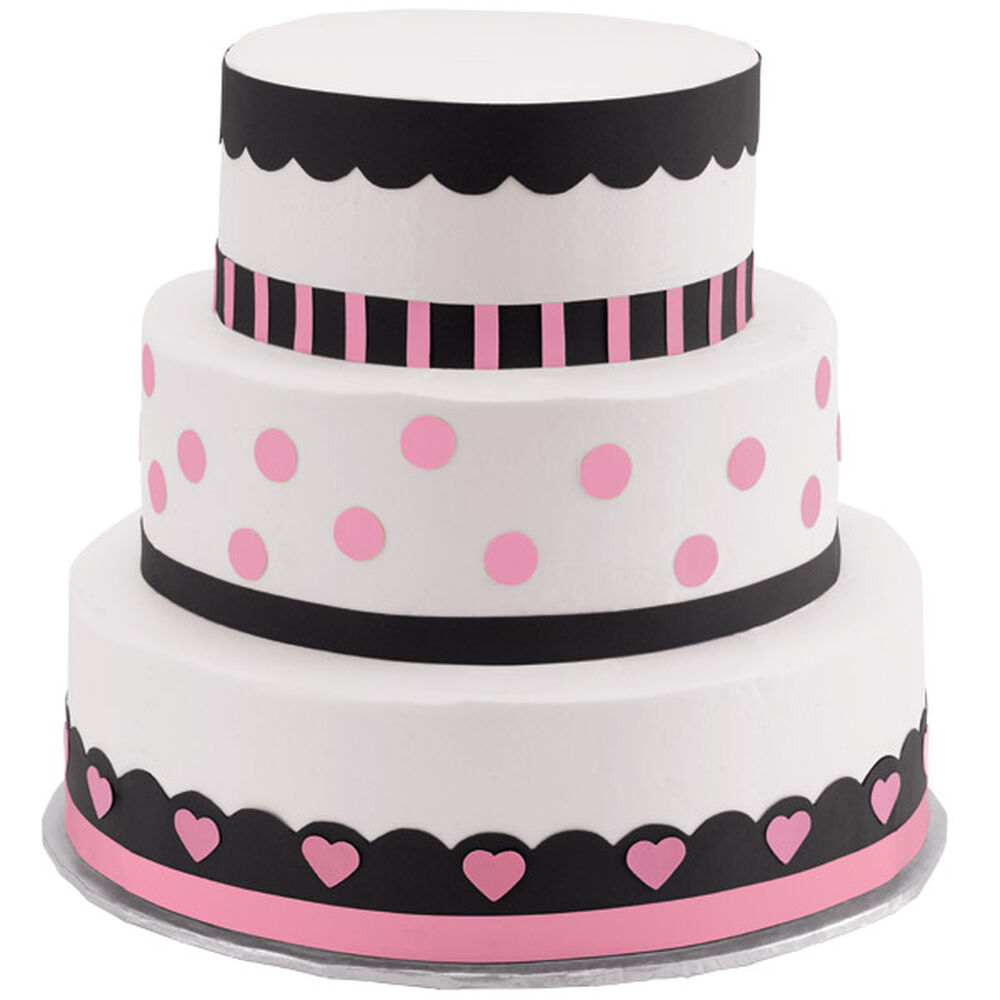Polka Dots And Hearts Three Tier Cake Wilton