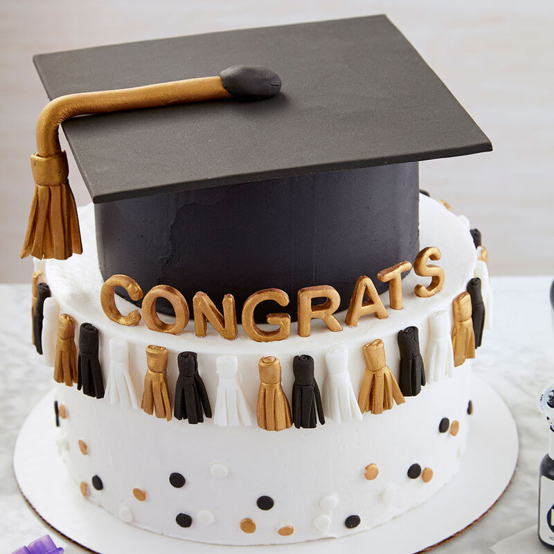 Black Mini Graduation Hat Cake Decoration Topper with Sign Grad and Diploma Gold