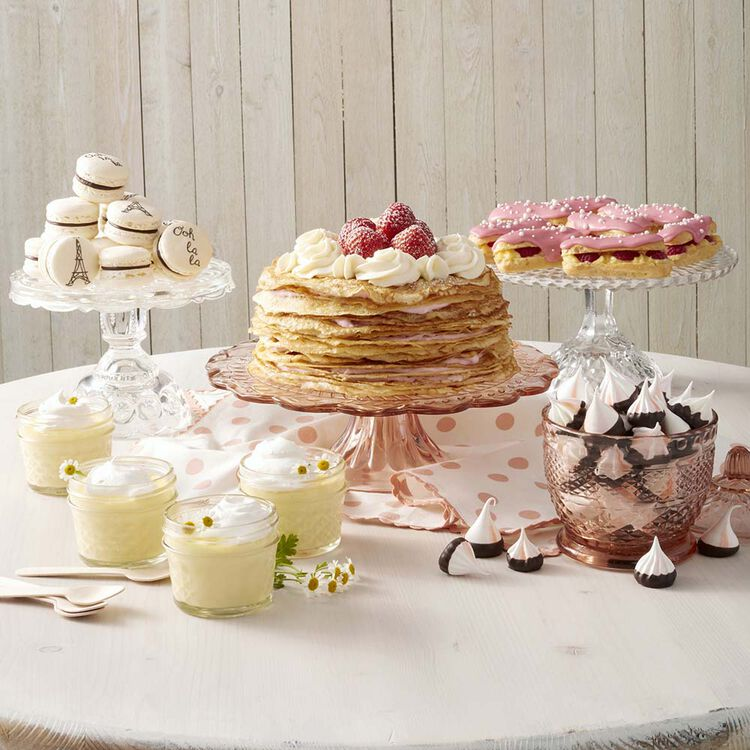 Table-scape of French desserts including the Striped Meringue Cookies