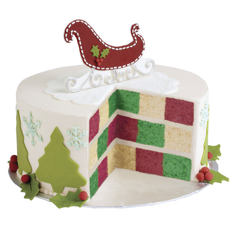 Sleigh Bells Checkerboard Christmas Cake image number 0