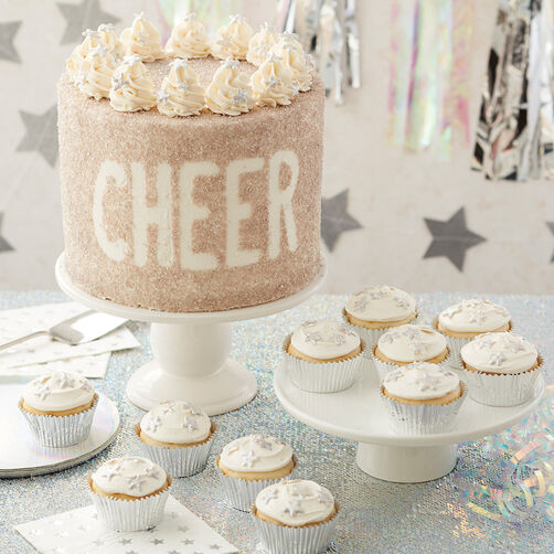 Cheer Buttercream Cake and cupcakes with silver sprinkles