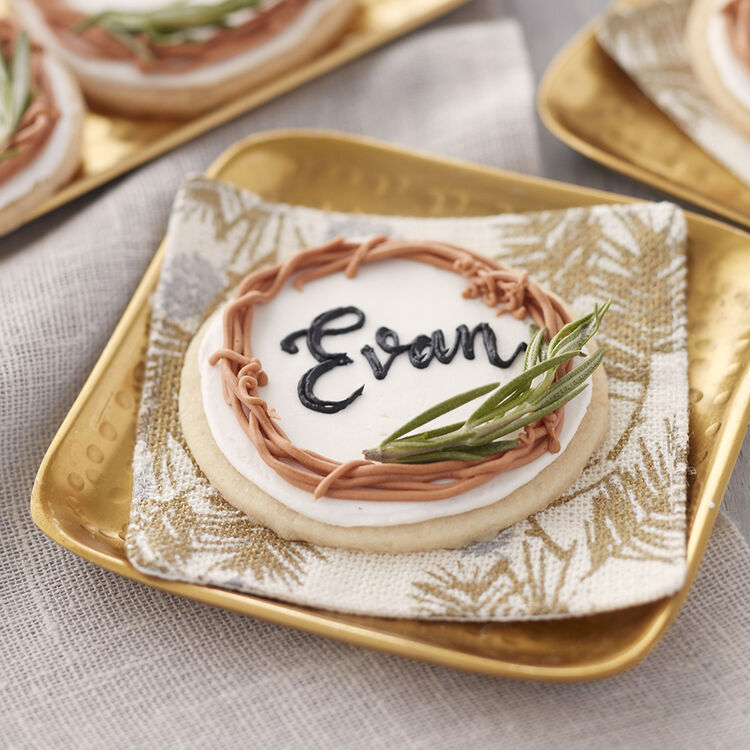 Holiday Lemon & Rosemary Place Card Cookies