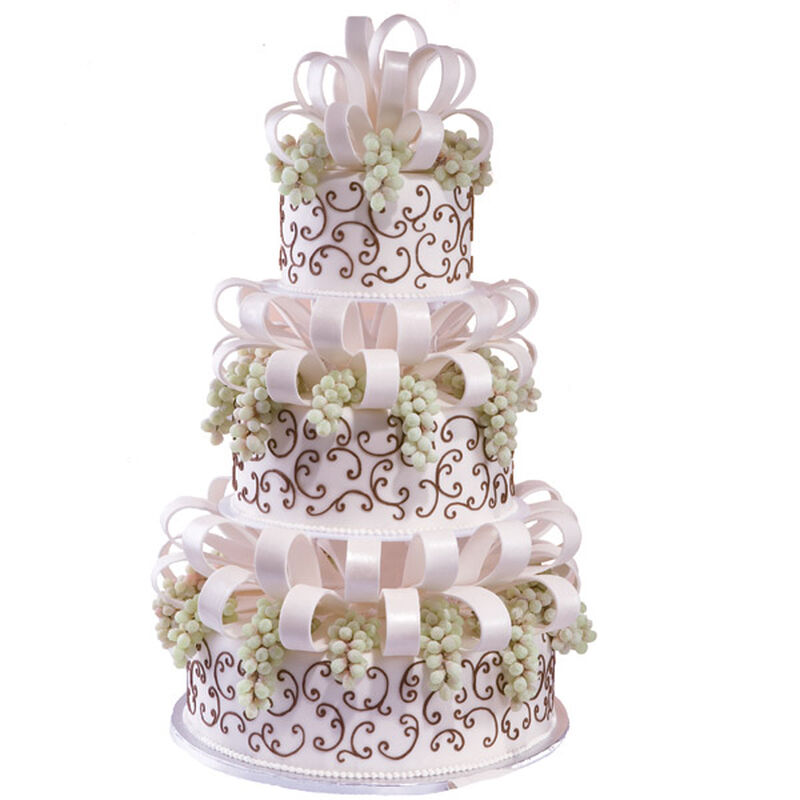 Bunches and Bows Wedding Cake image number 0