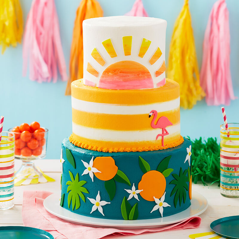 Tropical Getaway Retirement Cake - Three tiered cake using fondant to make tropical details  image number 0