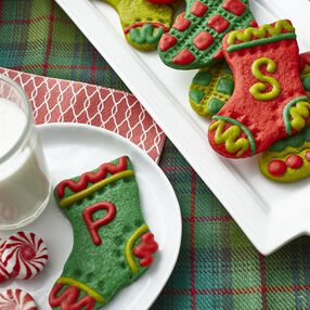 Stocking Christmas Cookies in Festive Colors