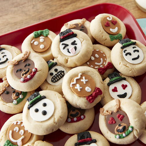Thumbprint Holiday Emoji Cookies