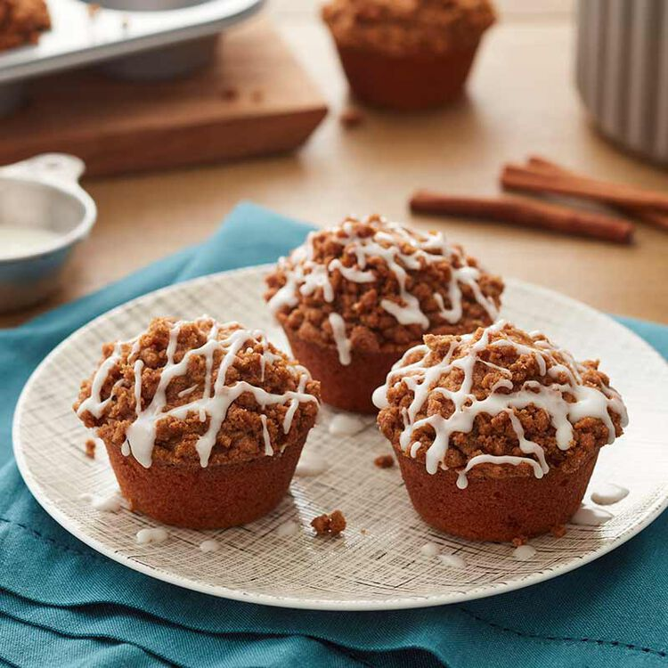 Cinnamon Muffins with Powdered Sugar Icing