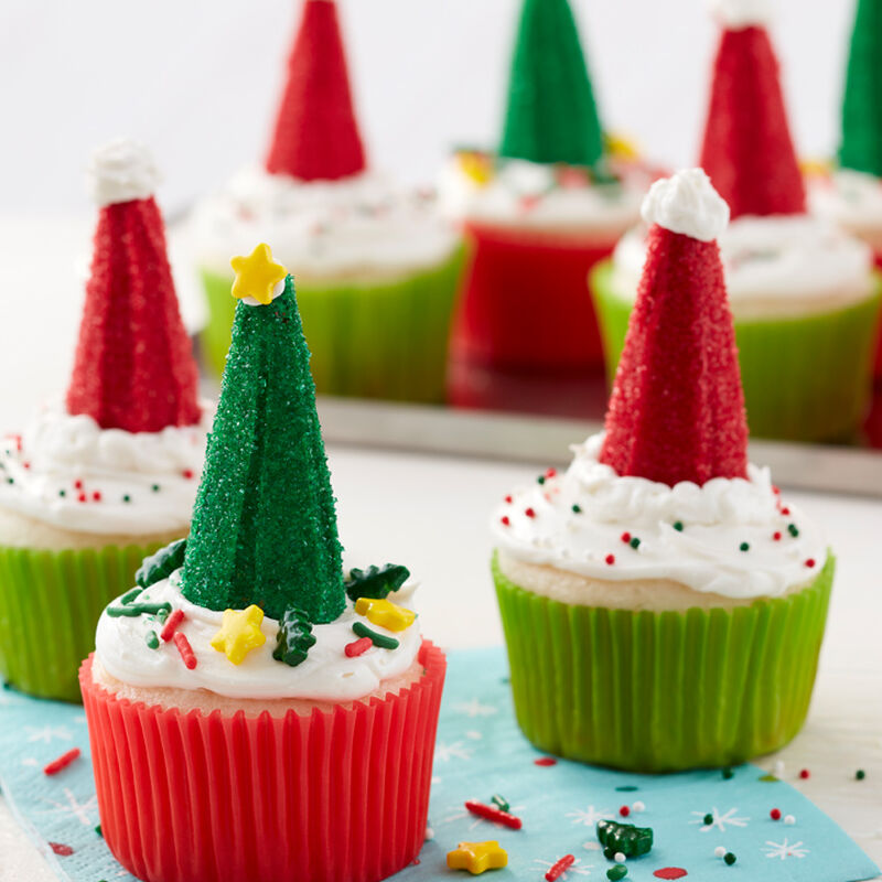 Christmas Tree and Santa Hat Cupcakes
