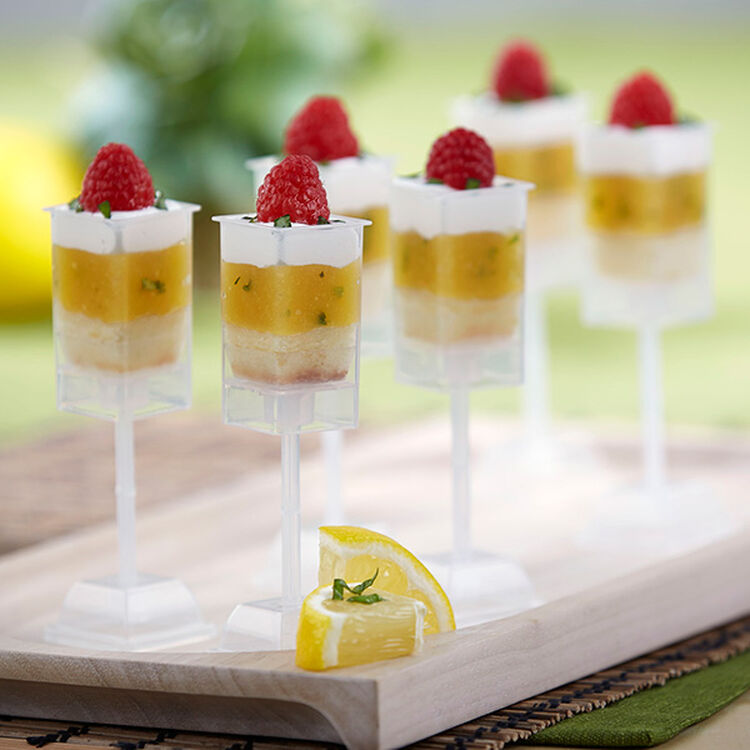 Lemon Basil Shooters with Raspberries