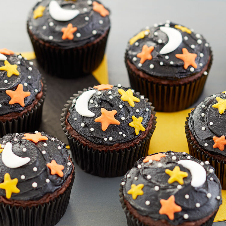 Night Sky Cupcakes - Easy Halloween Cupcakes