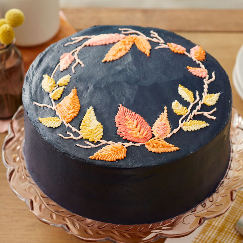How to Make a Buttercream Embroidered Leaf Cake