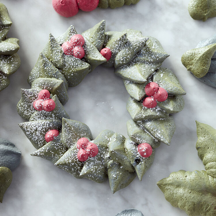 Meringue Christmas Wreath Cookies