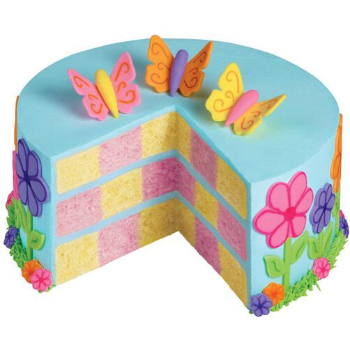 Spring Takes Flight Checkerboard Cake
