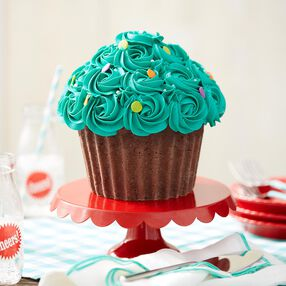 Giant Cupcake Cake with teal rosette frosting and jumbo confetti sprinkles