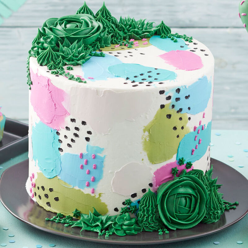 Pretty Pastel and Succulents Cake