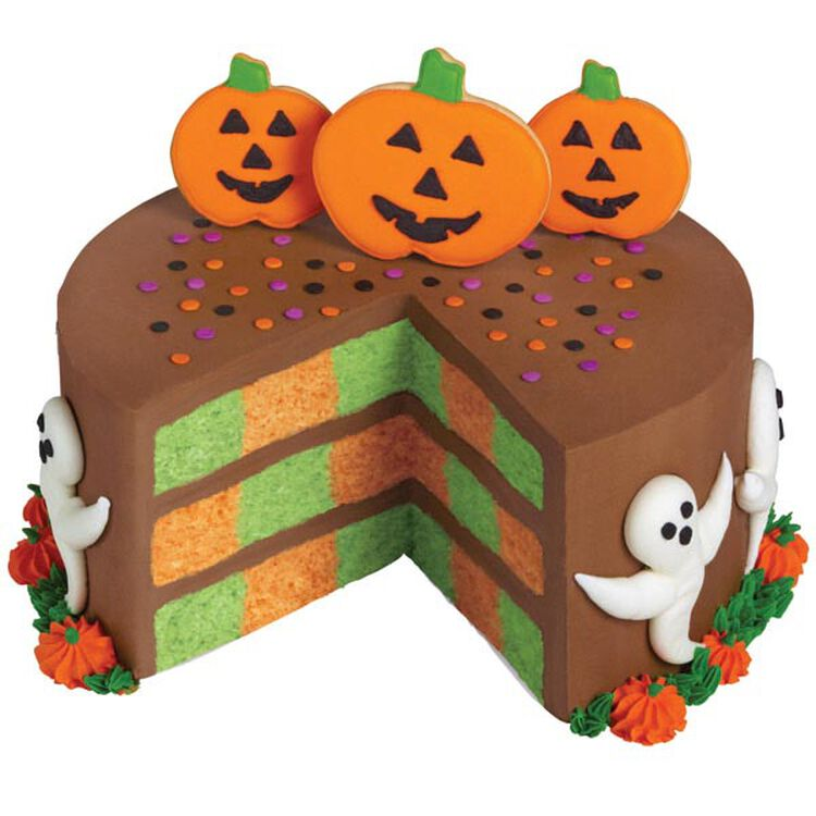 Pumpkin and Ghosts Checkerboard Cake