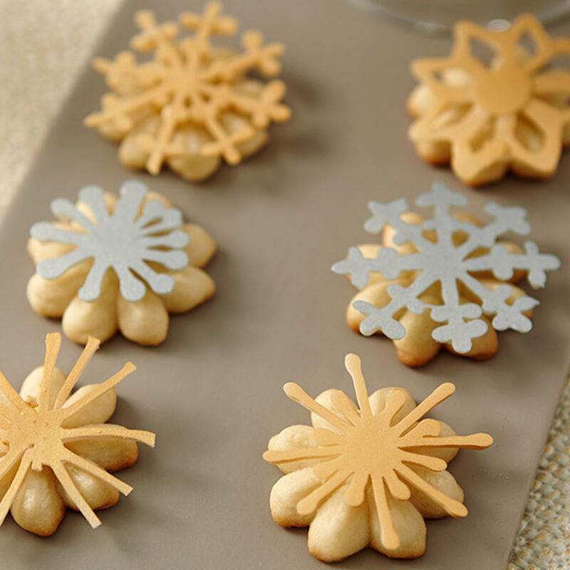 Christmas Spritz Cookies With Metallic Candy Snowflakes image number 0