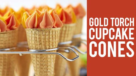 How to Make Gold Torch Cupcake Cones