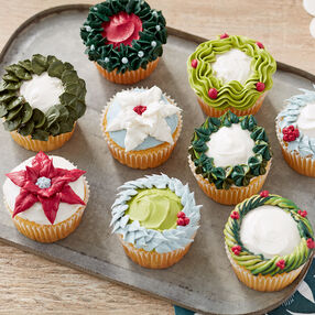 Holiday Wreath and Poinsettia Cupcakes