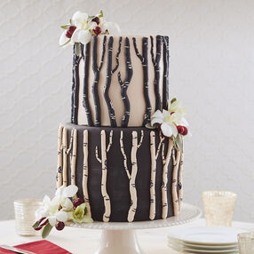 Winter Berry Birch Bark Wedding Cake