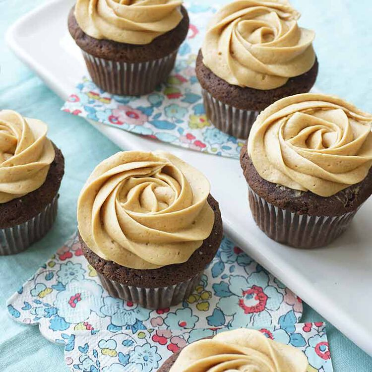 chocolate cupcakes frosted with mocha flavored buttercream frosting
