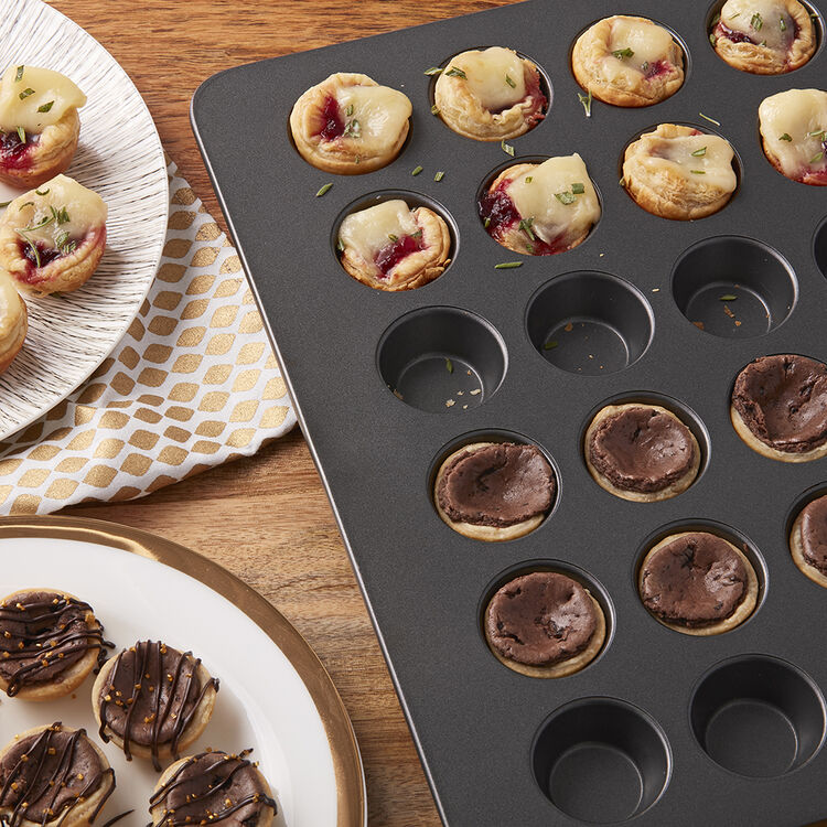 Mega Mini Muffin Cranberry Brie Appetizers and Chocolate Tarts
