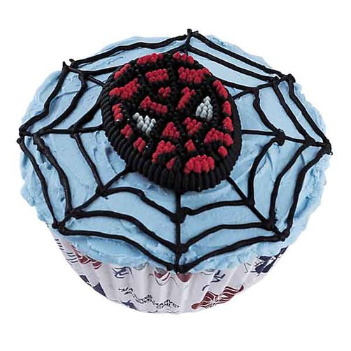 Blue frosted cupcake with black spider web and Spider Man candy decoration