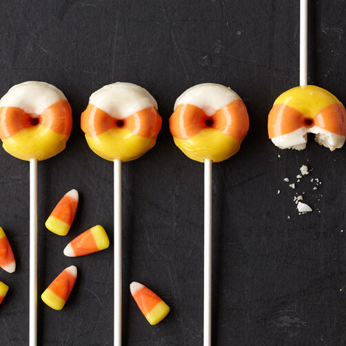 Halloween Candy Corn Mini Donuts