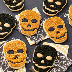 Black and Gold Skull Cookies - Halloween Skull Cookies