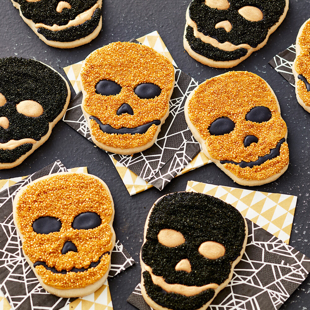 Black And Gold Skull Cookies