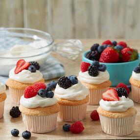 Angel Food Cupcakes with Fresh Berries and Whipped Cream Recipe