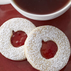 Linzer Halloween Cookies with Raspberry Preserves
