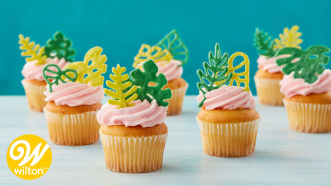 How to Make Tropical Leaf Cupcake Toppers Video