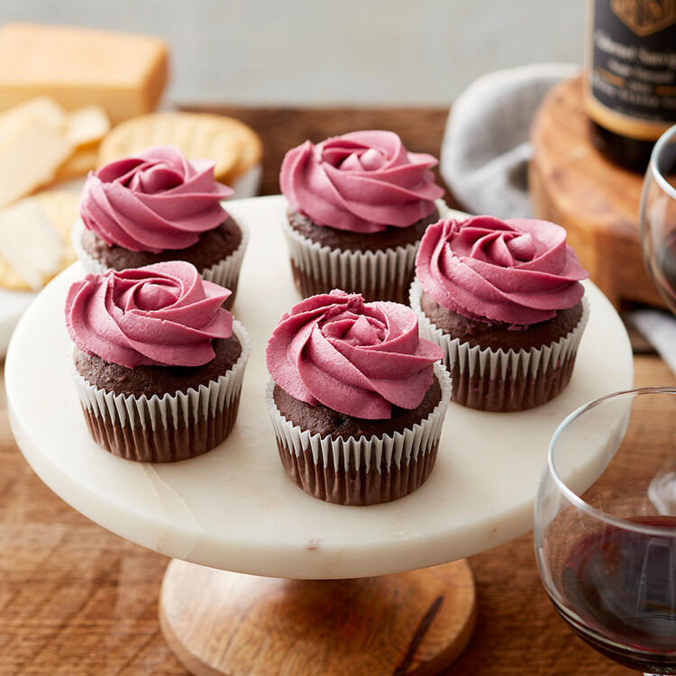 Red Wine Buttercream on chocolate cupcakes