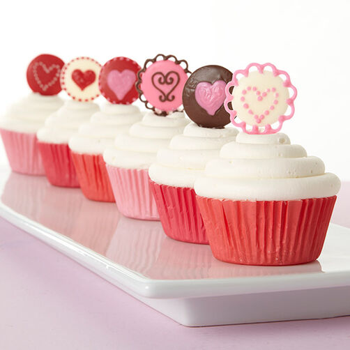 Candy Medallion Valentine Cupcakes