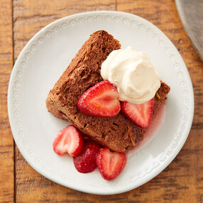 Chocolate Angel Food Cake with Strawberries and Caramel Whipped Cream