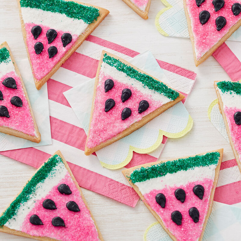 Slice of Watermelon Cookies - Cookies decorated to look like watermelon slices image number 0