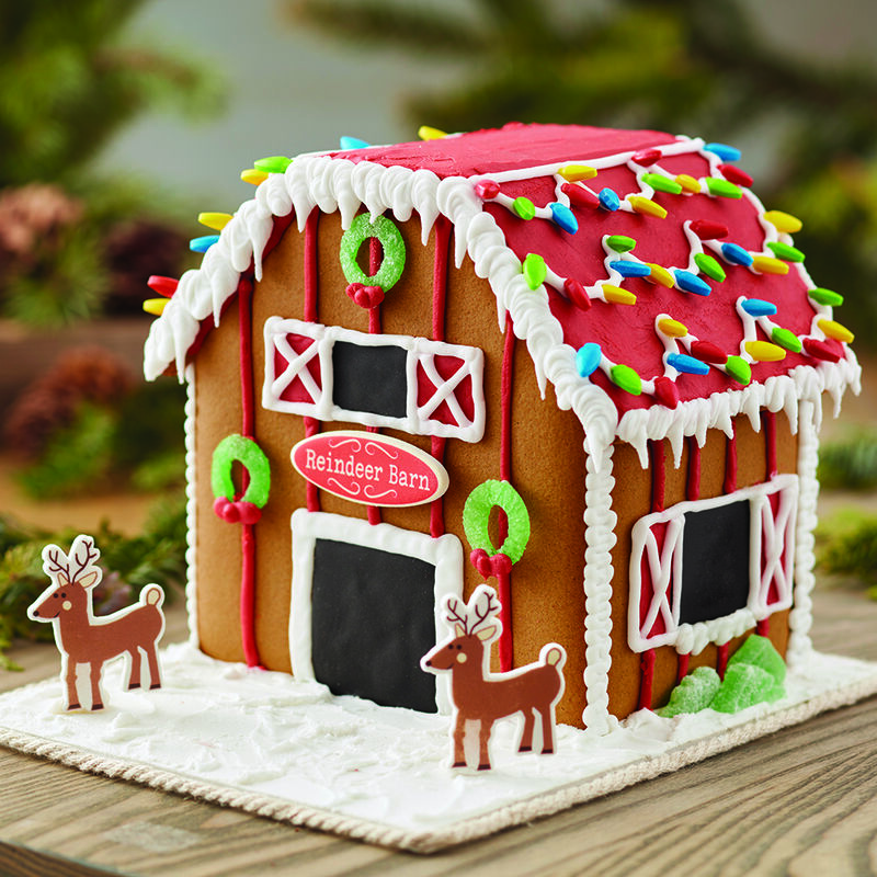 Santa's Reindeer Barn Gingerbread House image number 0