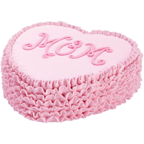 Ruffled Heart ?Mom? Cake
