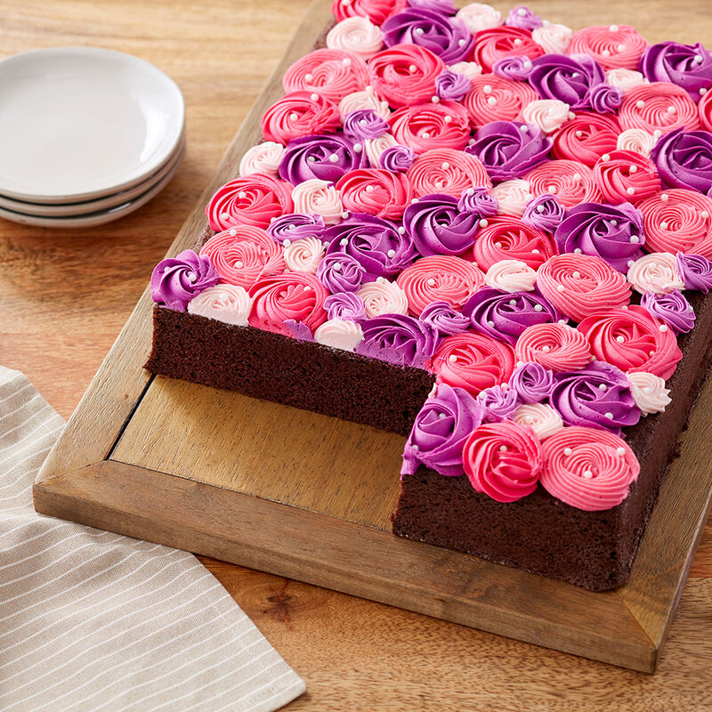 Pink and Purple Rosette Sheet Cake image number 0