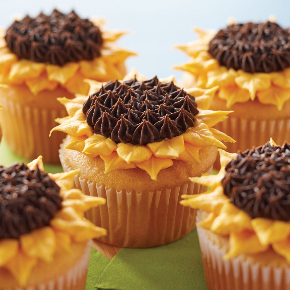 Ideas For Decorating Cupcakes: Sunflower Cupcakes - Easy Cupcake Ideas