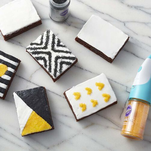 Graphic black, white and yellow brownies