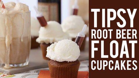 Tipsy Root Beer Float Cupcakes