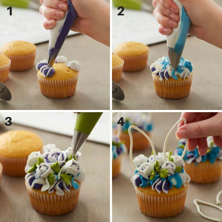 How to make floral easter bunny cupcakes